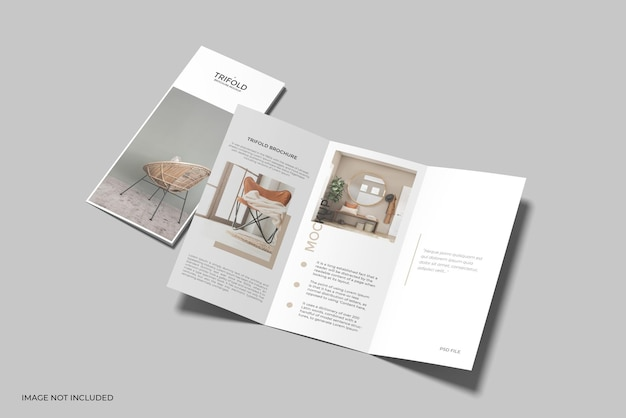 Dreifach gefaltetes a4-broschürenmodell