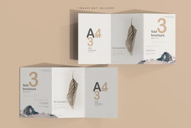 Dreifach gefaltetes broschürenmodell der größe a4 Premium PSD