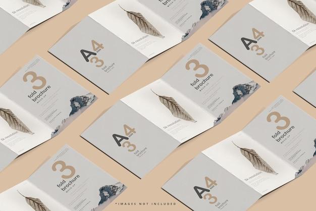 Dreifach gefaltetes broschürenmodell im a4-format