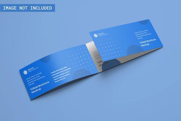 Dreifach gefaltetes broschürenmodell, linke winkelansicht