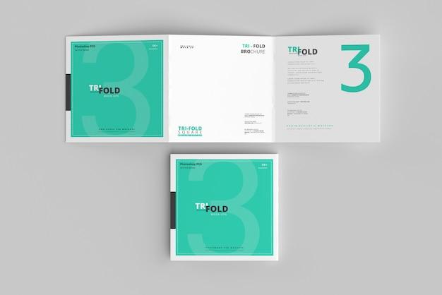 Dreifach gefaltetes quadratisches broschürenmodell