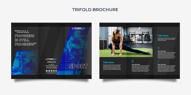 Dreifachgefaltete broschürenschablone mit sportkonzept