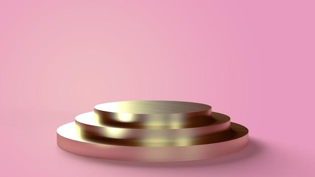 Dreistufiger runder goldener sockel auf rosa hintergrund zum platzieren von objekten