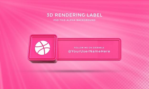 Dribbble benutzername 3d-rendering banner für das untere drittel