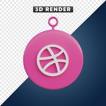Dribbble-social-media-symbol 3d-objekt