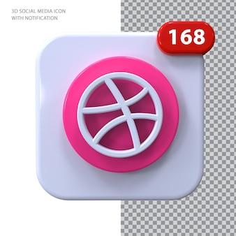 Dribbble-symbol mit benachrichtigung 3d-konzept