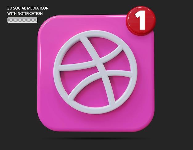 Dribbble-symbol mit benachrichtigung im 3d-stil