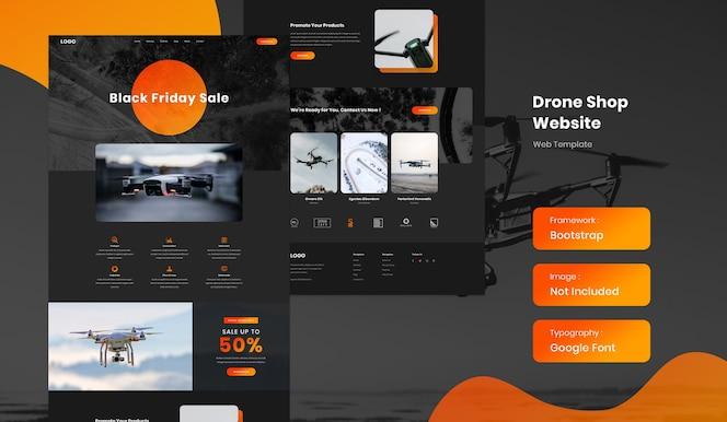 Drohne online-shop e-commerce-website-vorlage im dunklen modus