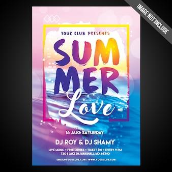 Druckfertig cmyk summer vibes flyer / poster mit editierbaren objekten