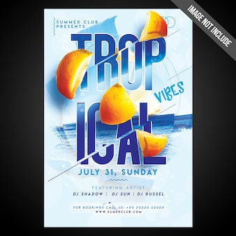 Druckfertig cmyk tropical vibes flyer / poster mit editierbaren objekten