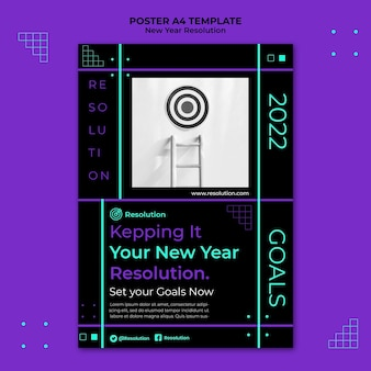 Druckvorlage für dunkle neujahrsauflösungen