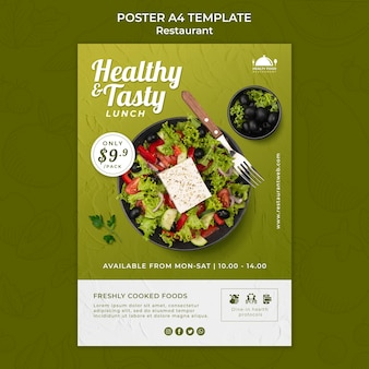 Druckvorlage für gesundes essen restaurant