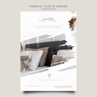 Druckvorlage für luxusvermietungen