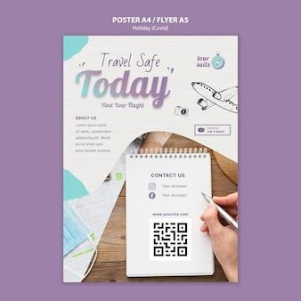 Druckvorlage für reisen und sicherheit
