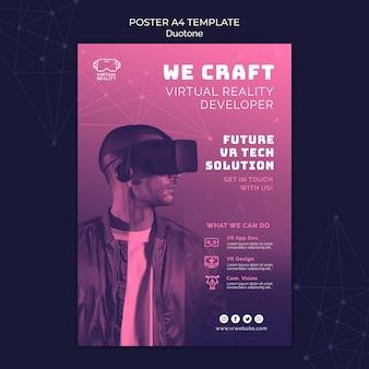 Druckvorlage für virtuelle realität im duotone