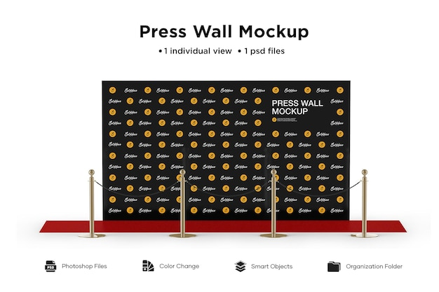 Drücken sie wall mockup isolated