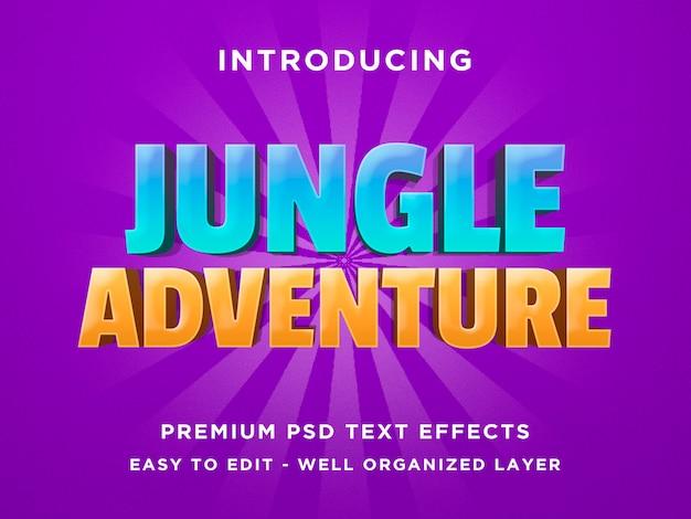 Dschungel-abenteuer - schablone des effekt-psd des text-3d