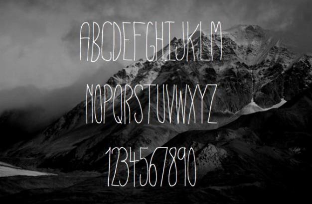 Dünne typografie