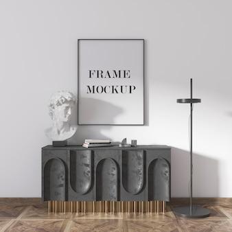 Dünnes wandrahmenmodell mit skulptur und schrank im raum
