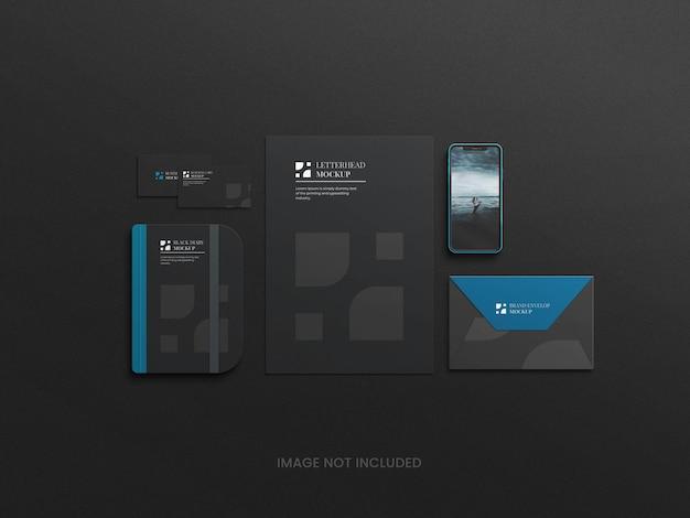 Dunkel-blaues firmen-briefpapier-set mockup