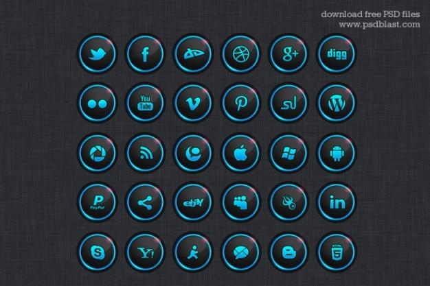 Dunkel social media icons psd
