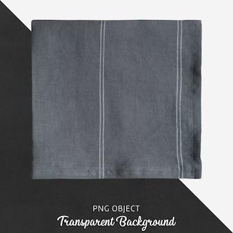 Dunkelgraues, satiniertes stofftaschentuch auf transparentem untergrund