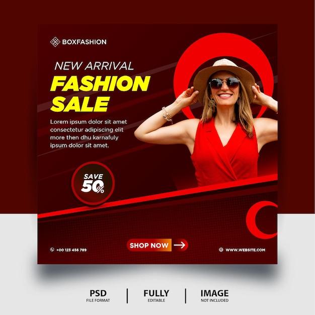 Dunkelrote farbe fashion sale social media post banner