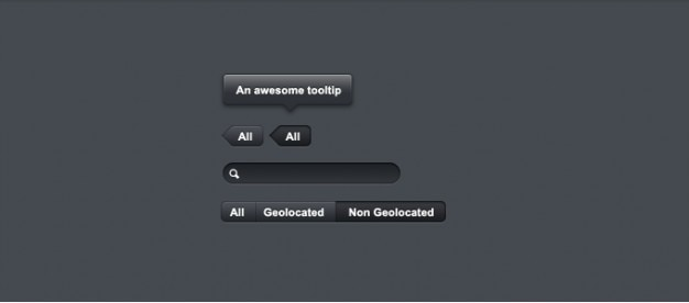 Dunkle buttons, tooltips, tabs, ui-elemente
