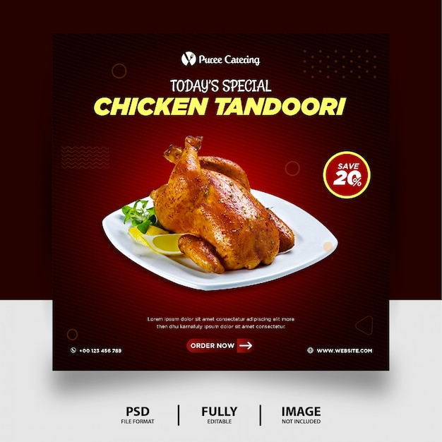 Dunkle farbe spezial fried chicken food social media post banner