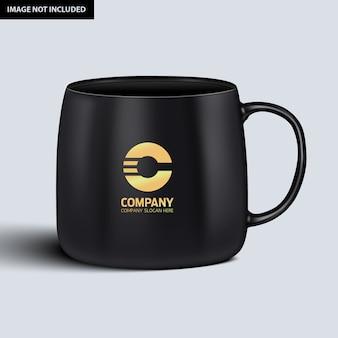 Dunkle kaffeetasse mockup