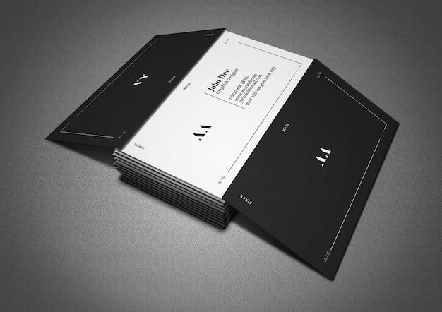 Dunkle und minimale visitenkarte mit drei ansichten