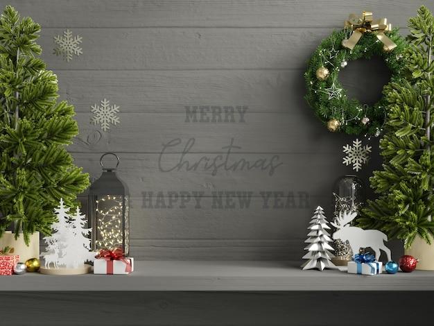 Dunkle wand des weihnachtsmodells im wohnzimmerinnenraum.