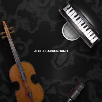 Dunkler hintergrund der klassischen musik. 3d-rendering