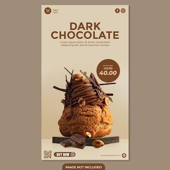 Dunkler schokoladenkuchen social-media-post-story-vorlage für werberestaurant