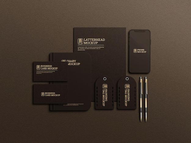 Dunkles briefpapier-mockup-design