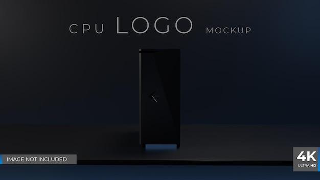 Dunkles cpu-logo-mockup 3d-rendering