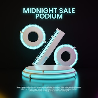 Dunkles neon-podium mit prozent-symbol-produktdisplay