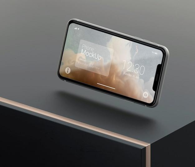 Dunkles und kupfernes levitationstelefonmodell
