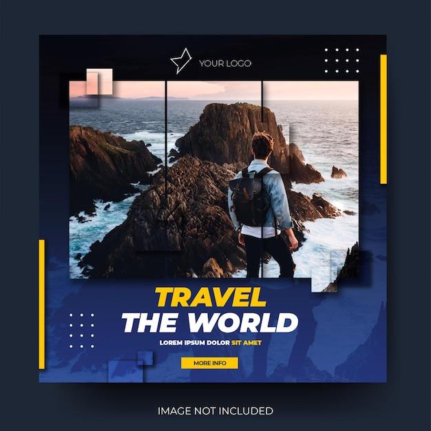 Dynamischer social-media-postfeed für reisen in blau