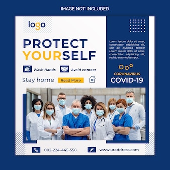 Dynamisches coronavirus social media post template design