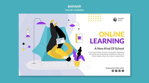 E-learning-banner-vorlage dargestellt