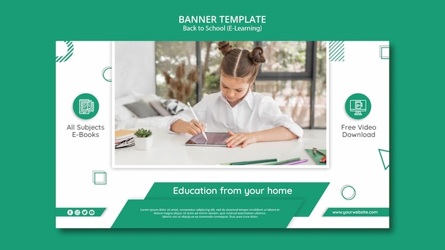 E-learning-banner-vorlage mit foto