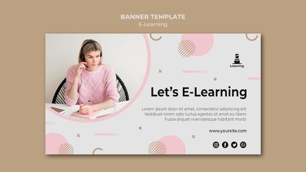 E-learning-konzept im banner-vorlagenstil