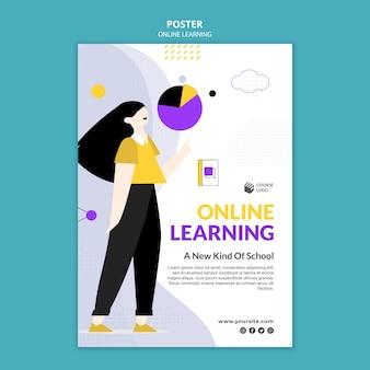 E-learning poster vorlage illustriert