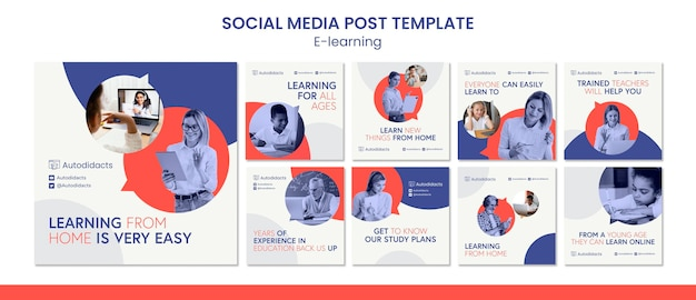 E-learning-postvorlage für soziale medien