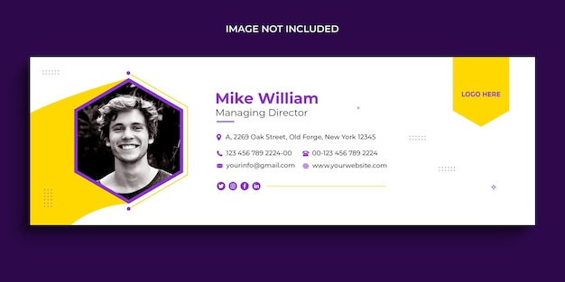 E-mail-signatur-design oder e-mail-fußzeile und persönliche social-media-cover-vorlage