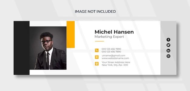 E-mail-signaturvorlage oder e-mail-fußzeile und persönliches cover-design für soziale medien