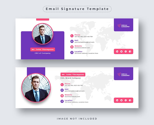 E-mail-signaturvorlage oder e-mail-fußzeile und social-media-cover-set