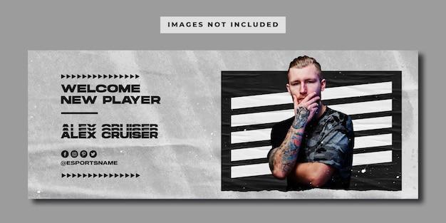 E-sports player social media facebook banner vorlage
