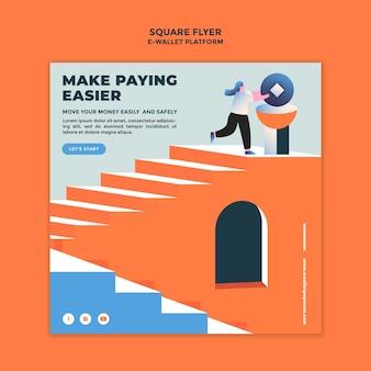 E-wallet app quadratische flyer-vorlage